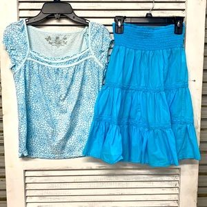 Turquoise Girls Tiered Skirt Set size M/L